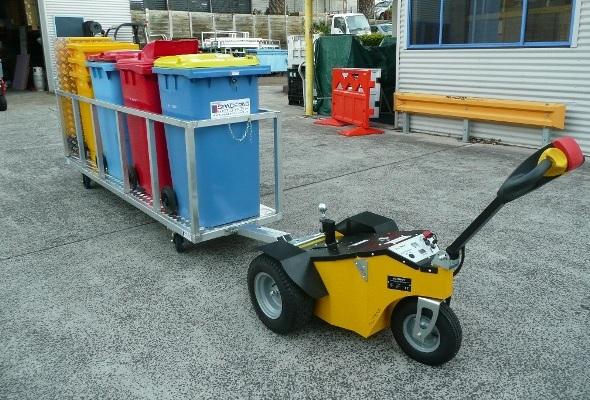 alitrak tt900 towing 4 x 240 litre bin trailer 2