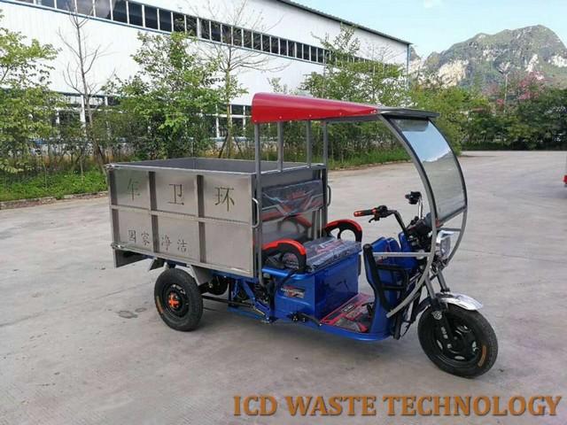 Xe điện chở rác 1.000L thùng inox